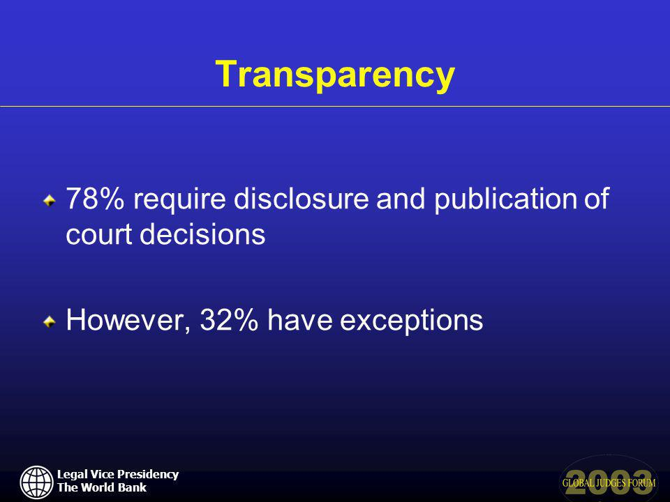 Legal Vice Presidency The World Bank Transparency 78% require disclosure and publication of court decisions However, 32% have exceptions