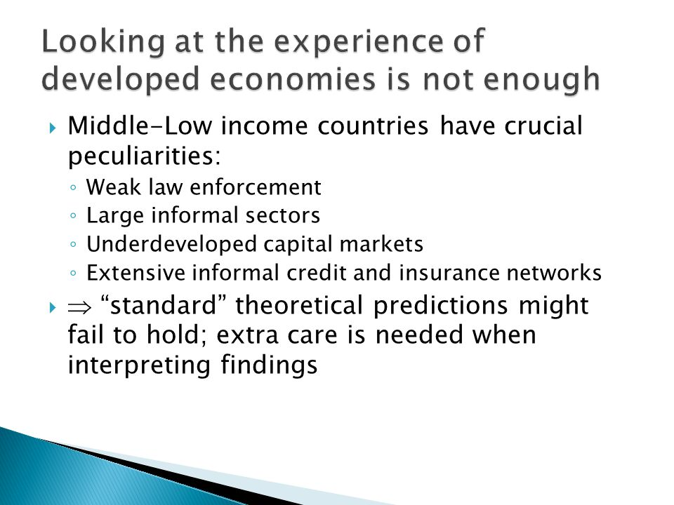  Ambiguous predictions ◦ Competitive labor markets:  employment,  wage and welfare of those who remain employed,  welfare of those who lose their job; deadweight loss ◦ Imperfect labor markets: redistributive effects, unclear whether employment effects  Predictions also depend on institutional context ◦ Compliance, enforcement, existence of uncovered sector(s), other regulations