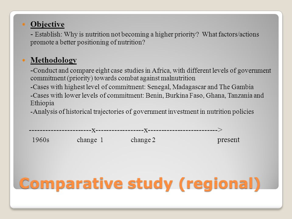 Comparative study (regional) Objective - Establish: Why is nutrition not becoming a higher priority.