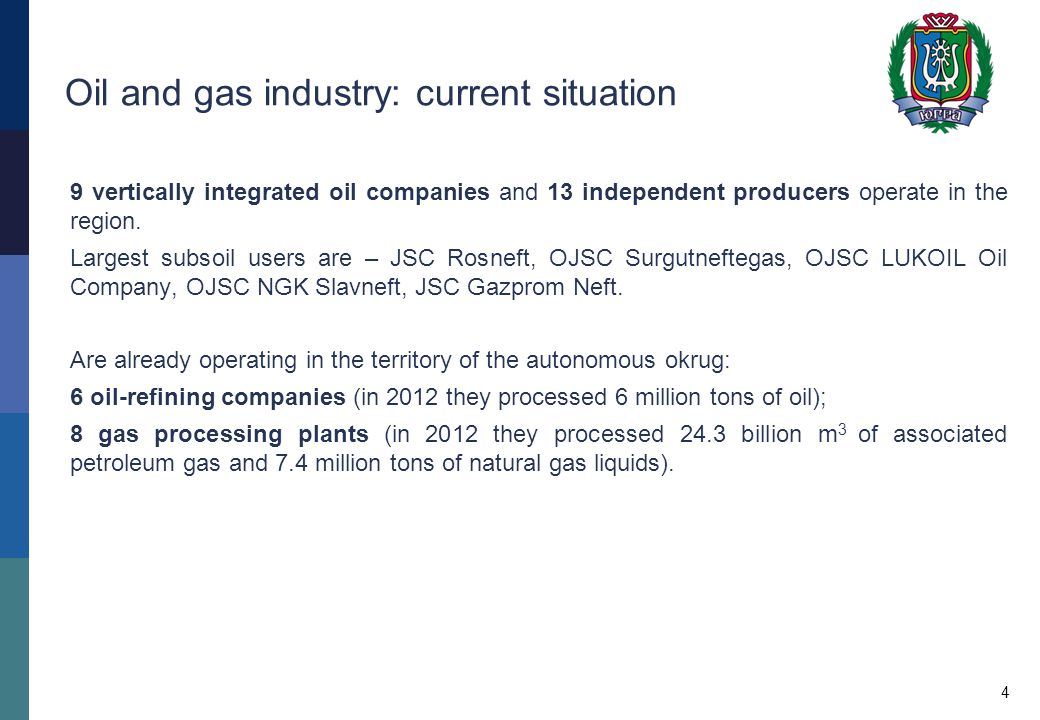 Oil and gas industry: current situation 9 vertically integrated oil companies and 13 independent producers operate in the region.
