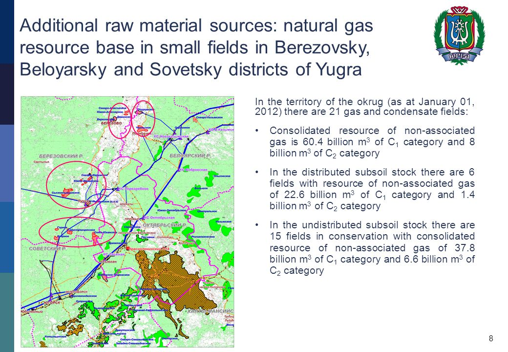 Additional raw material sources: natural gas resource base in small fields in Berezovsky, Beloyarsky and Sovetsky districts of Yugra In the territory of the okrug (as at January 01, 2012) there are 21 gas and condensate fields: Consolidated resource of non-associated gas is 60.4 billion m 3 of С 1 category and 8 billion m 3 of С 2 category In the distributed subsoil stock there are 6 fields with resource of non-associated gas of 22.6 billion m 3 of С 1 category and 1.4 billion m 3 of С 2 category In the undistributed subsoil stock there are 15 fields in conservation with consolidated resource of non-associated gas of 37.8 billion m 3 of С 1 category and 6.6 billion m 3 of С 2 category 8
