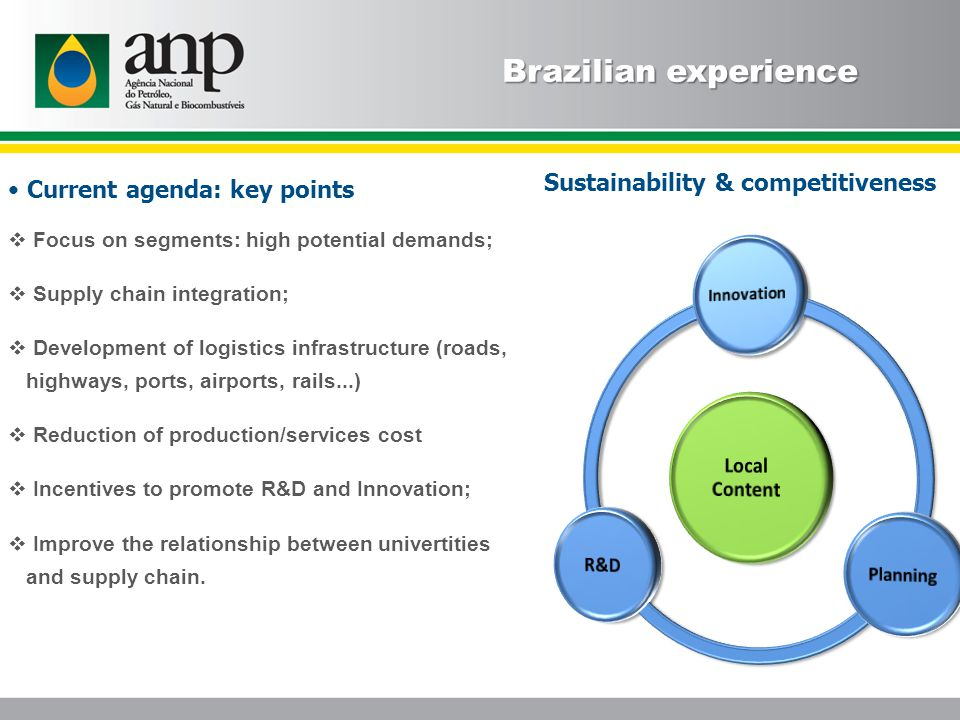 Sustainability & competitiveness Brazilian experience Current agenda: key points  Focus on segments: high potential demands;  Supply chain integration;  Development of logistics infrastructure (roads, highways, ports, airports, rails...)  Reduction of production/services cost  Incentives to promote R&D and Innovation;  Improve the relationship between univertities and supply chain.