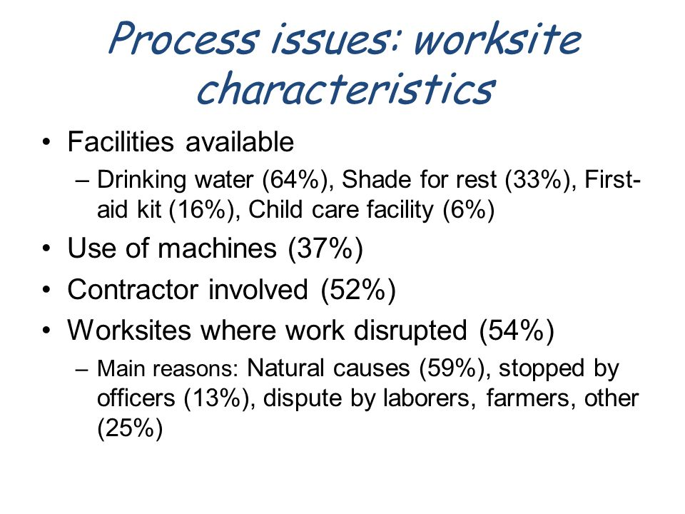 Process issues: worksite characteristics Facilities available –Drinking water (64%), Shade for rest (33%), First- aid kit (16%), Child care facility (6%) Use of machines (37%) Contractor involved (52%) Worksites where work disrupted (54%) –Main reasons: Natural causes (59%), stopped by officers (13%), dispute by laborers, farmers, other (25%)