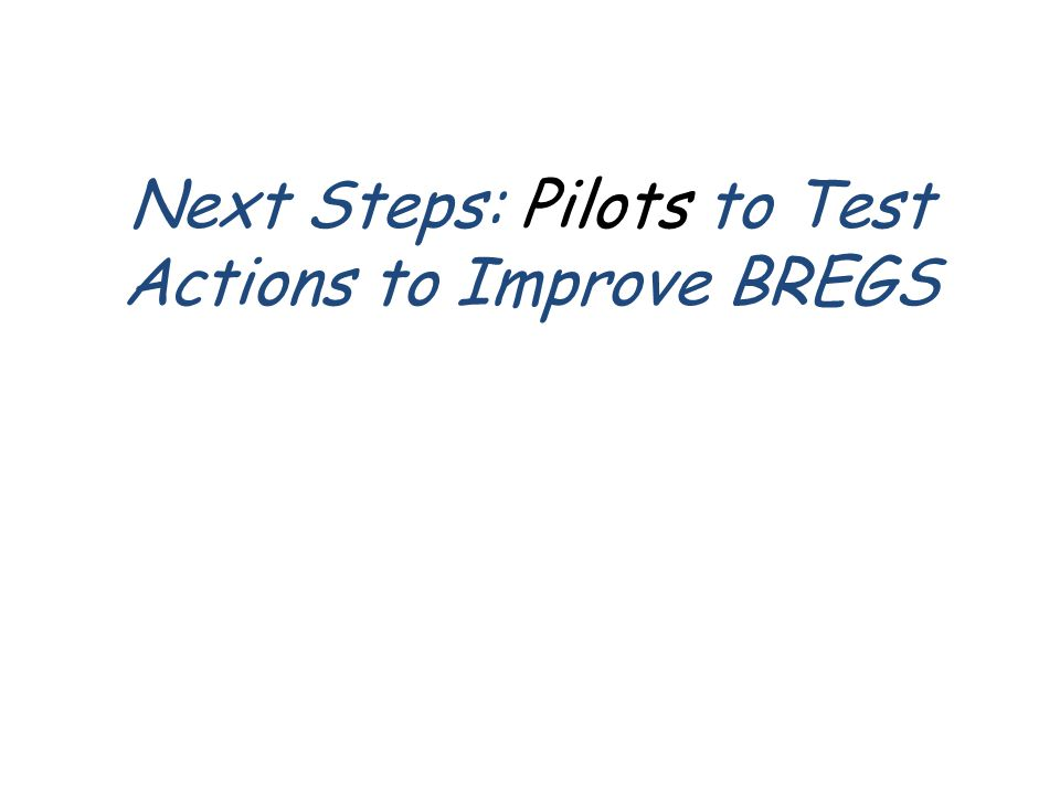 Next Steps: Pilots to Test Actions to Improve BREGS