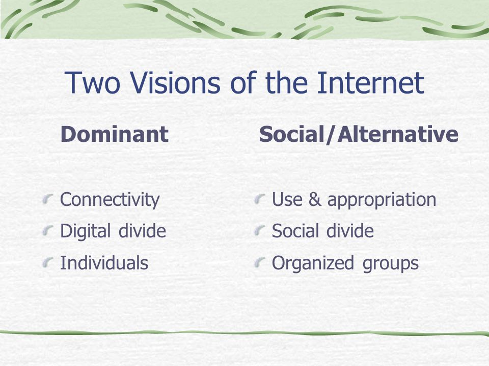 Two Visions of the Internet Dominant Connectivity Digital divide Individuals Social/Alternative Use & appropriation Social divide Organized groups