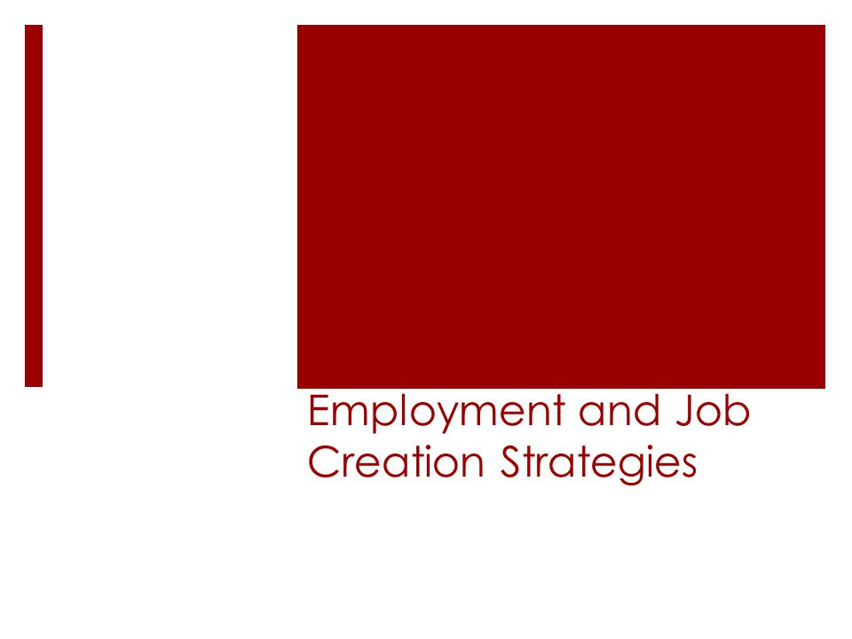 Employment and Job Creation Strategies
