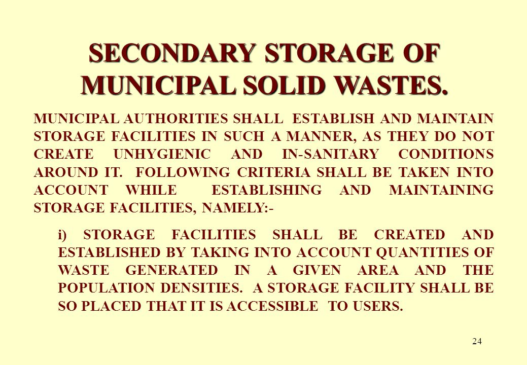 23 SEGREGATION OF MUNICIPAL SOLID WASTES.