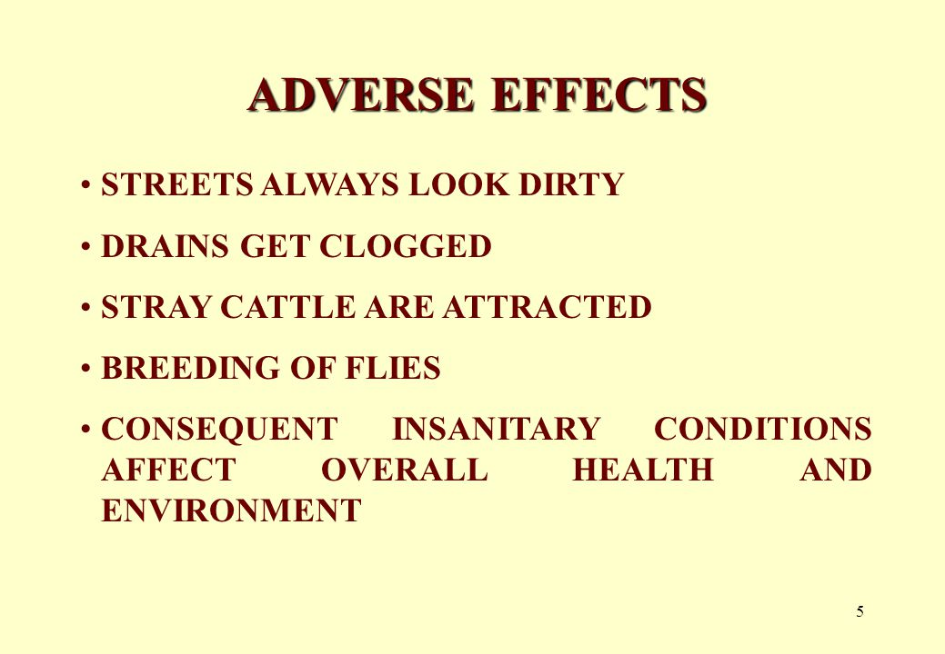 5 ADVERSE EFFECTS STREETS ALWAYS LOOK DIRTY DRAINS GET CLOGGED STRAY CATTLE ARE ATTRACTED BREEDING OF FLIES CONSEQUENT INSANITARY CONDITIONS AFFECT OVERALL HEALTH AND ENVIRONMENT