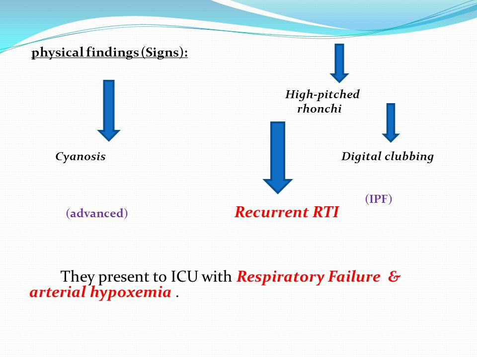 physical findings (Signs): High-pitched rhonchi Cyanosis Digital clubbing (IPF) (advanced) Recurrent RTI They present to ICU with Respiratory Failure & arterial hypoxemia.