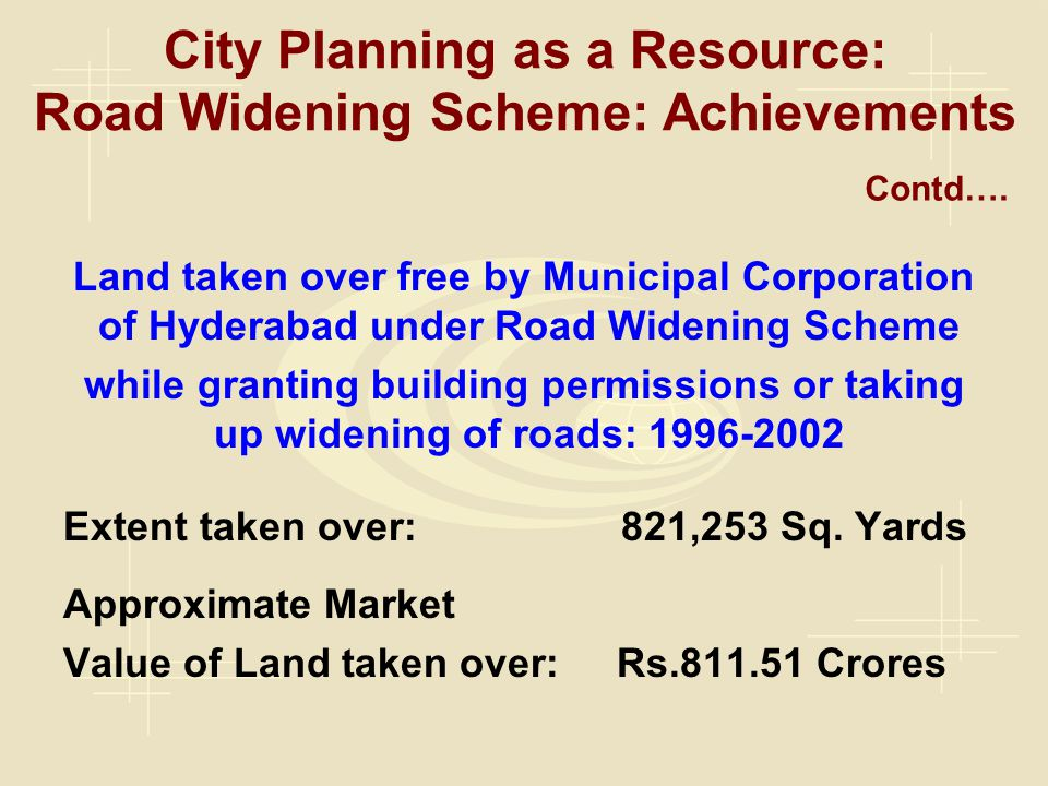 City Planning as a Resource: Road Widening Scheme: Achievements Land taken over free by Municipal Corporation of Hyderabad under Road Widening Scheme while granting building permissions or taking up widening of roads: 1996-2002 Extent taken over: 821,253 Sq.