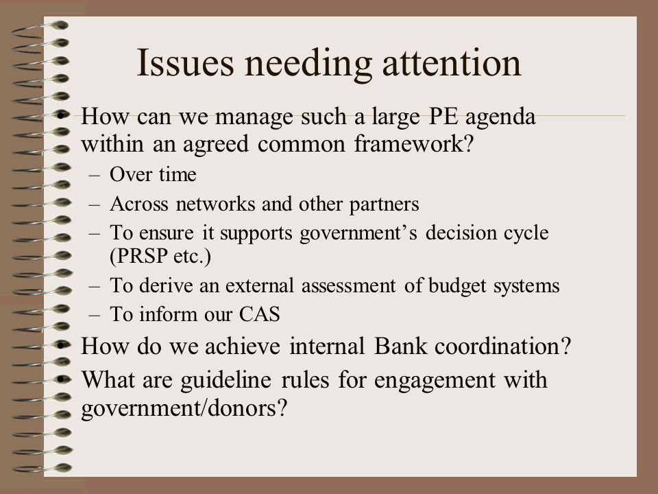 Issues needing attention How can we manage such a large PE agenda within an agreed common framework.