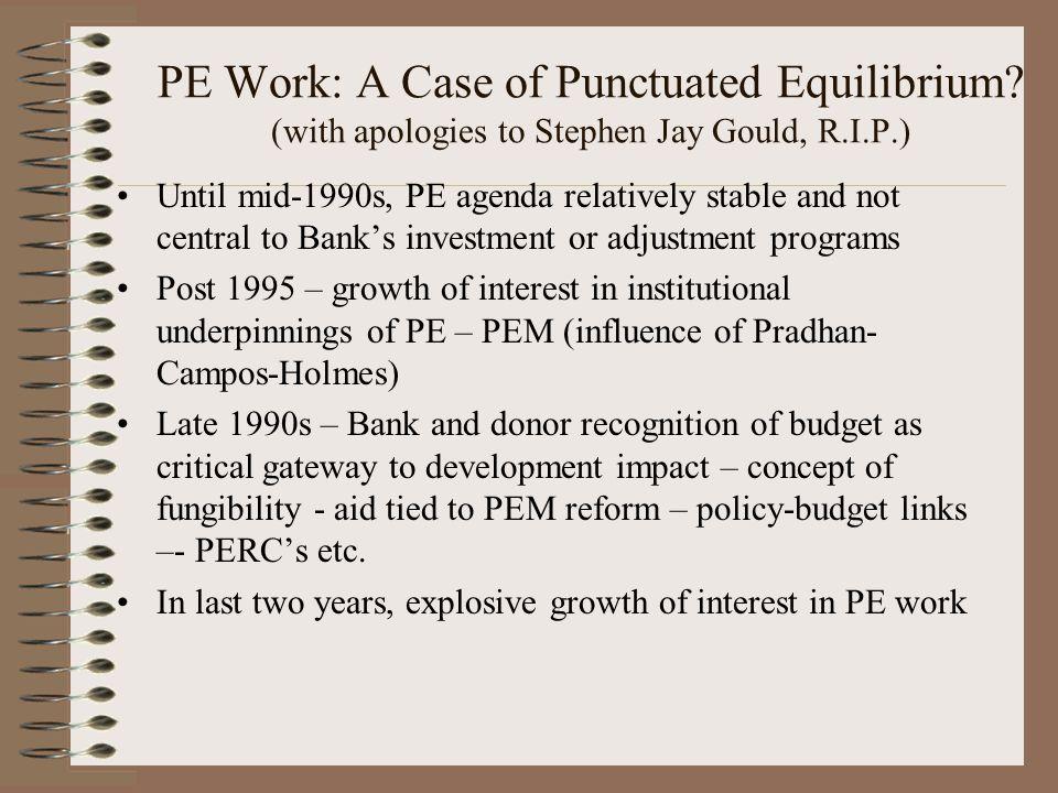 PE Work: A Case of Punctuated Equilibrium.