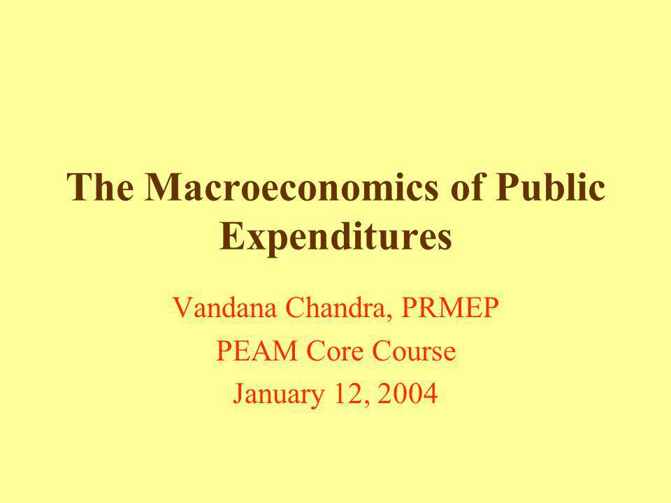 The Macroeconomics of Public Expenditures Vandana Chandra, PRMEP PEAM Core Course January 12, 2004