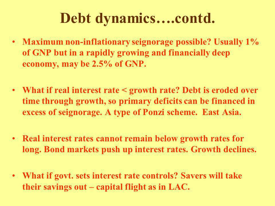 Debt dynamics….contd. Maximum non-inflationary seignorage possible? Usually 1% of GNP but in a rapidly growing and financially deep economy, may be 2.