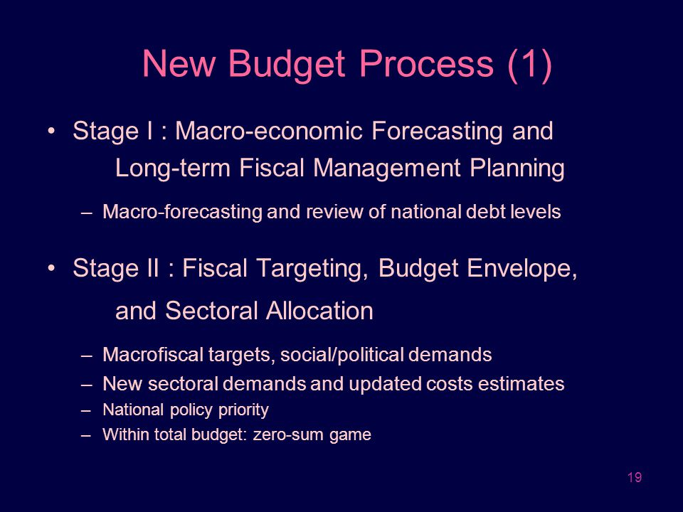 19 New Budget Process (1) Stage I : Macro-economic Forecasting and Long-term Fiscal Management Planning –Macro-forecasting and review of national debt