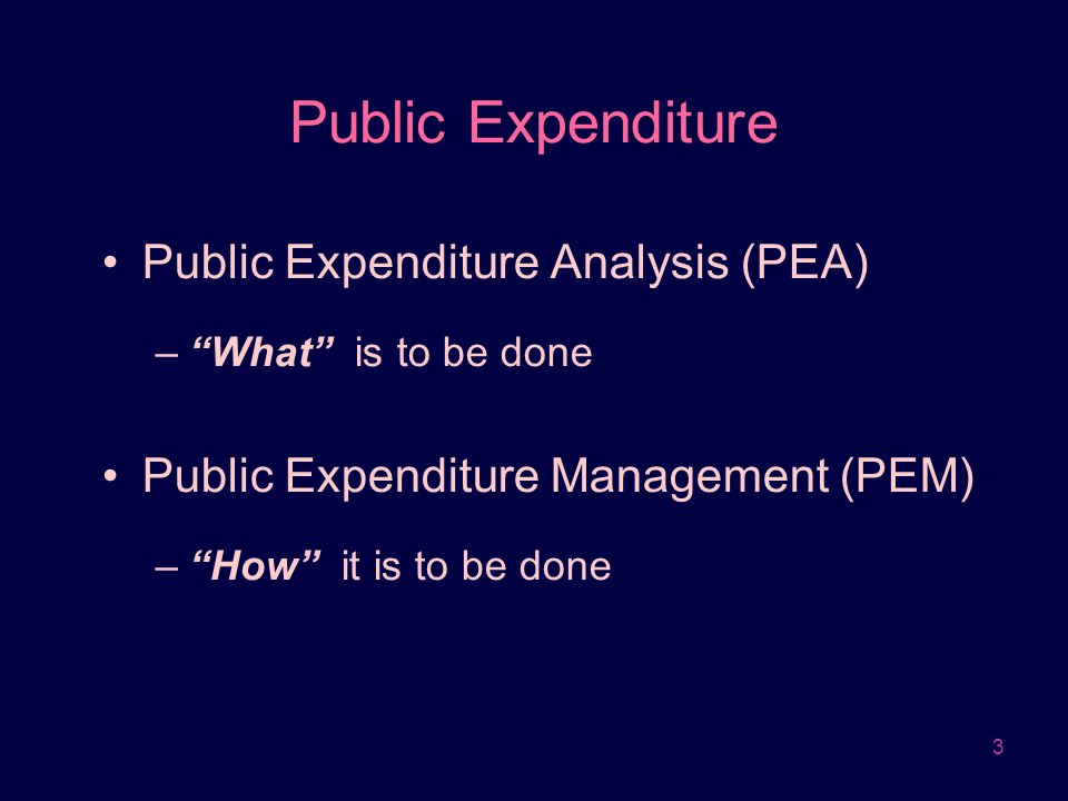 4 Public Expenditure Analysis (1) The role of the state –Market failure and distributional inequity  Government intervention –Improving efficiency of economy/distribution of income * Government failure vs.