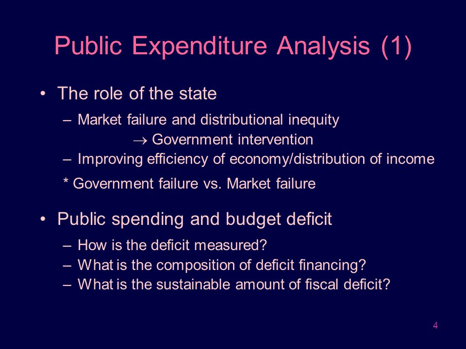 4 Public Expenditure Analysis (1) The role of the state –Market failure and distributional inequity  Government intervention –Improving efficiency of