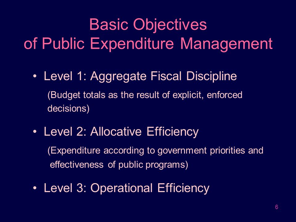 6 Basic Objectives of Public Expenditure Management Level 1: Aggregate Fiscal Discipline (Budget totals as the result of explicit, enforced decisions)