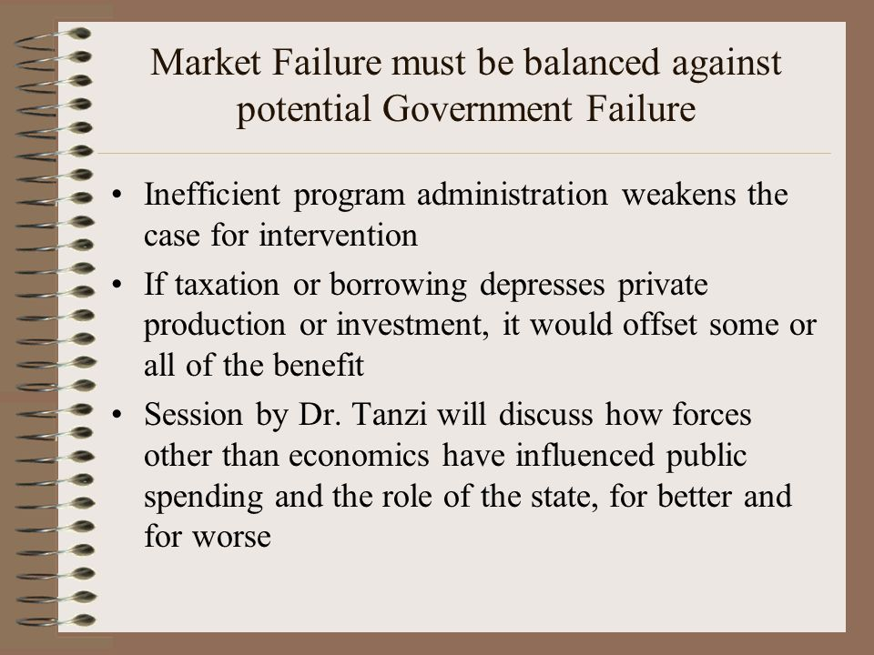 Market Failure must be balanced against potential Government Failure Inefficient program administration weakens the case for intervention If taxation or borrowing depresses private production or investment, it would offset some or all of the benefit Session by Dr.