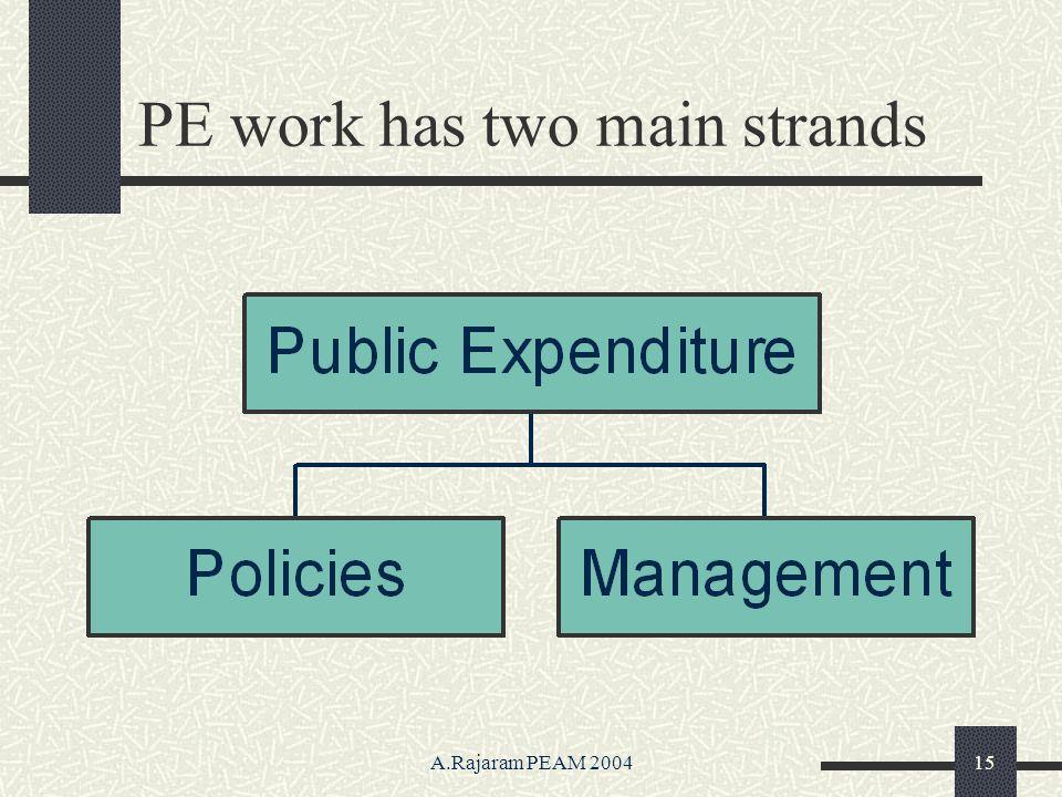 A.Rajaram PEAM 200415 PE work has two main strands