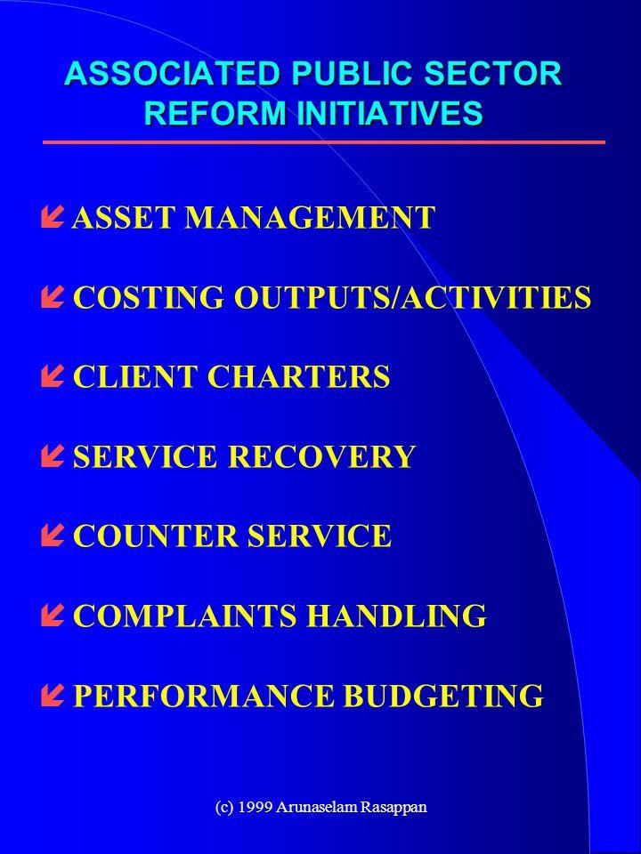 (c) 1999 Arunaselam Rasappan í ASSET MANAGEMENT í COSTING OUTPUTS/ACTIVITIES í CLIENT CHARTERS í SERVICE RECOVERY í COUNTER SERVICE í COMPLAINTS HANDLING í PERFORMANCE BUDGETING ASSOCIATED PUBLIC SECTOR REFORM INITIATIVES