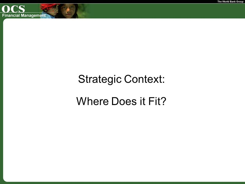 Strategic Context: Where Does it Fit