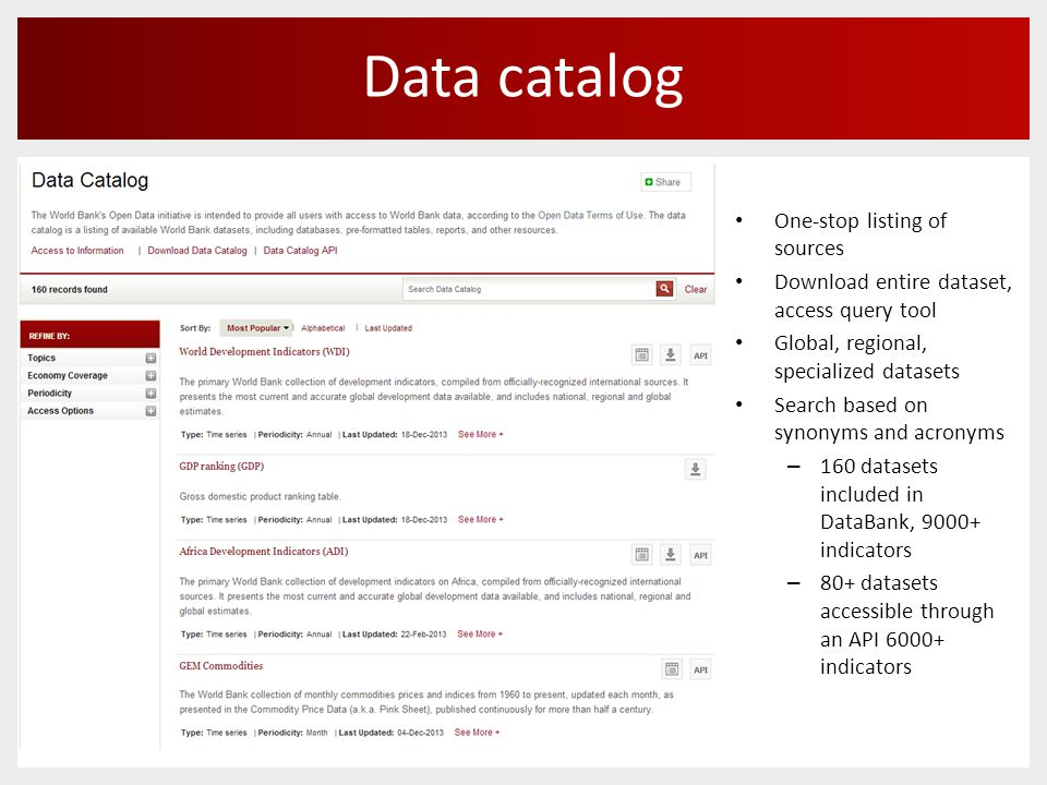 Data catalog One-stop listing of sources Download entire dataset, access query tool Global, regional, specialized datasets Search based on synonyms and acronyms – 160 datasets included in DataBank, 9000+ indicators – 80+ datasets accessible through an API 6000+ indicators