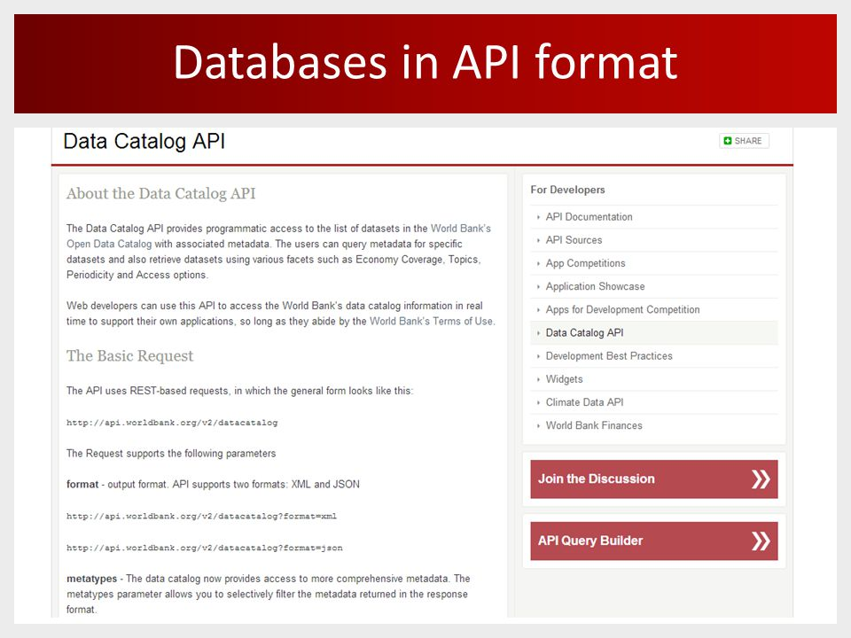 Databases in API format