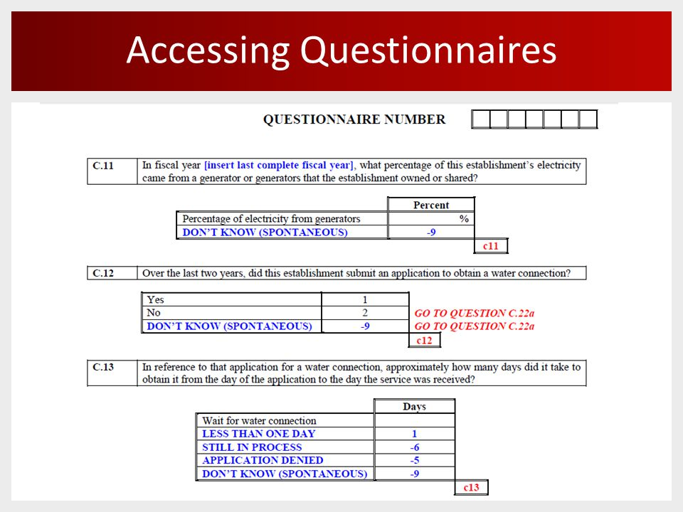 Accessing Questionnaires