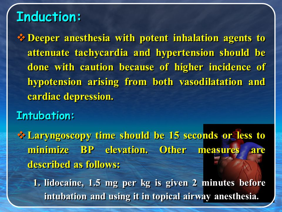 Intraoperative management Regional anesthesia:  These patients should have intravascular fluids given prior to the regional anesthetic, regional blocks should be administered to an adequately medicated and sedated patient to prevent stress-related release of catecholamines.