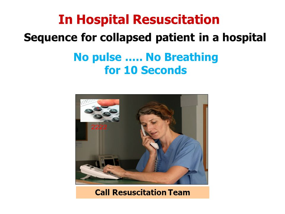 In Hospital Resuscitation Sequence for collapsed patient in a hospital No pulse..... No Breathing for 10 Seconds Call Resuscitation Team