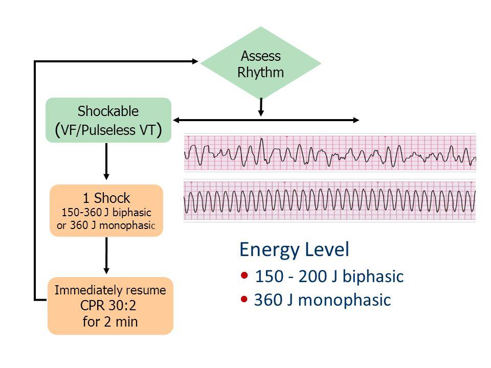 Assess Rhythm Shockable ( VF/Pulseless VT ) 1 Shock 150-360 J biphasic or 360 J monophasi c Immediately resume CPR 30:2 for 2 min Energy Level 150 - 2