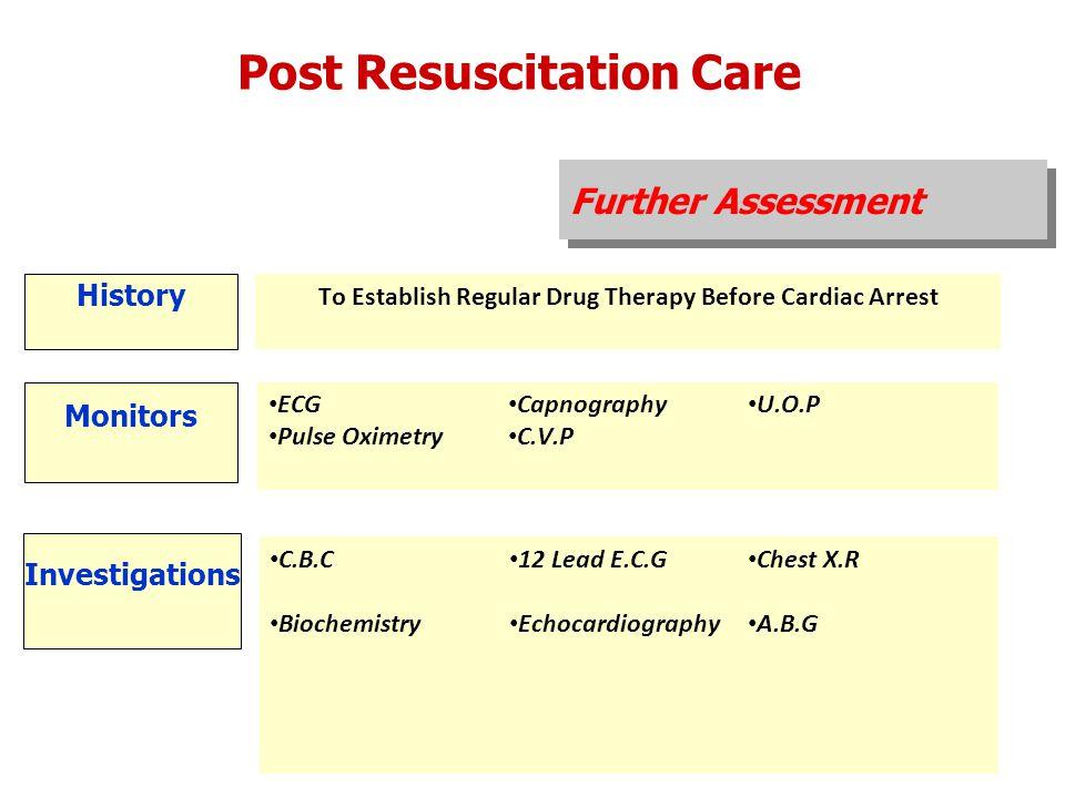 Further Assessment Post Resuscitation Care History To Establish Regular Drug Therapy Before Cardiac Arrest Monitors ECG Pulse Oximetry Capnography C.V