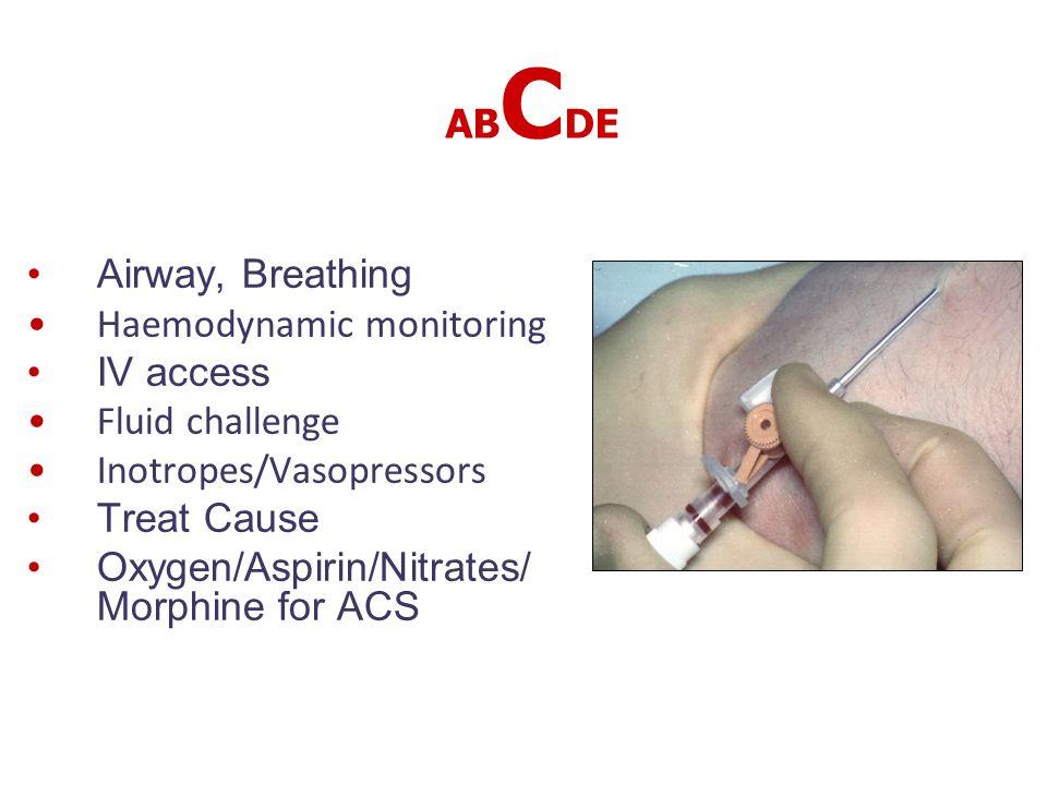 AB C DE Airway, Breathing Haemodynamic monitoring IV access Fluid challenge Inotropes/Vasopressors Treat Cause Oxygen/Aspirin/Nitrates/ Morphine for A