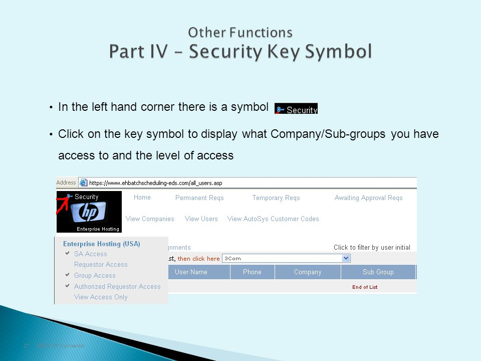 ©2009 HP Confidential27 In the left hand corner there is a symbol Click on the key symbol to display what Company/Sub-groups you have access to and th