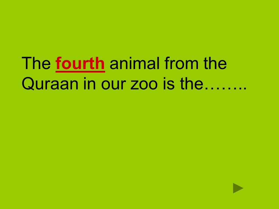 The fourth animal from the Quraan in our zoo is the……..
