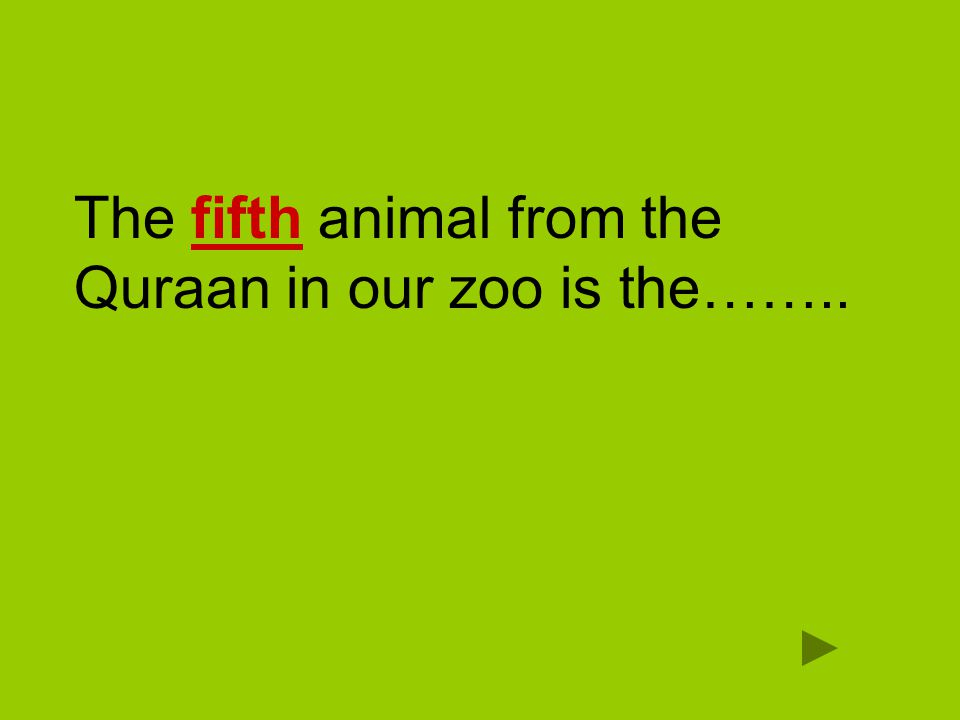 The fifth animal from the Quraan in our zoo is the……..