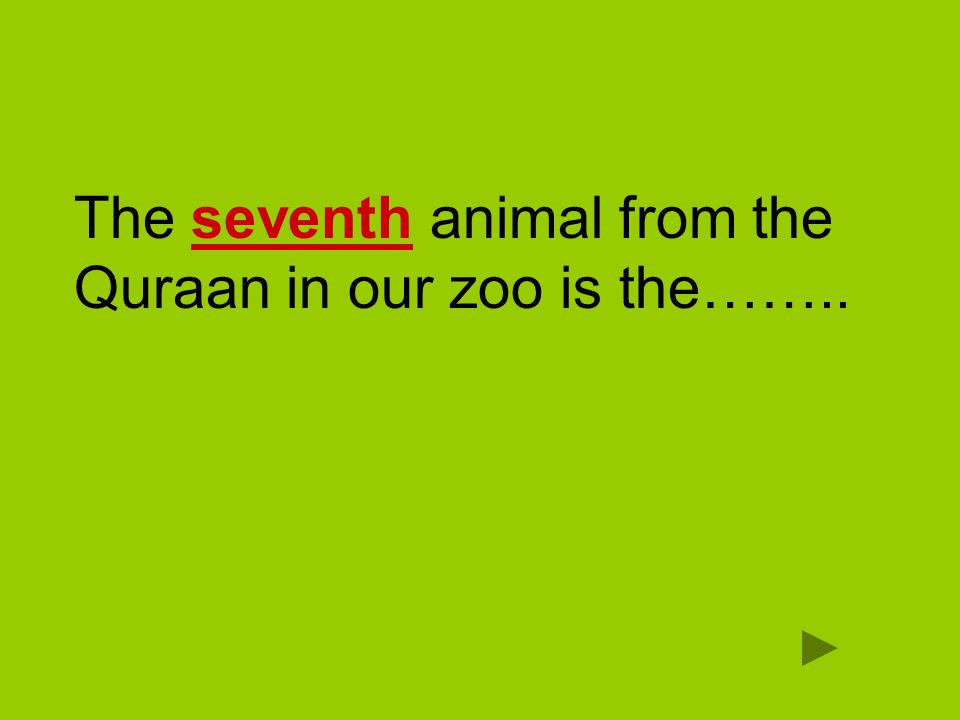 The seventh animal from the Quraan in our zoo is the……..