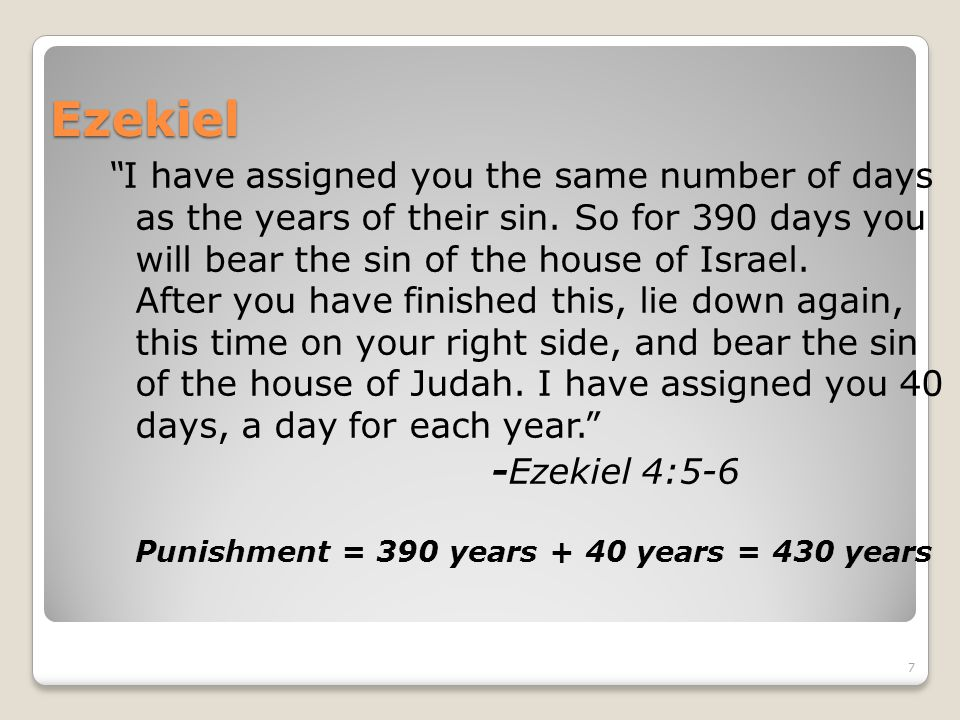Ezekiel I have assigned you the same number of days as the years of their sin.