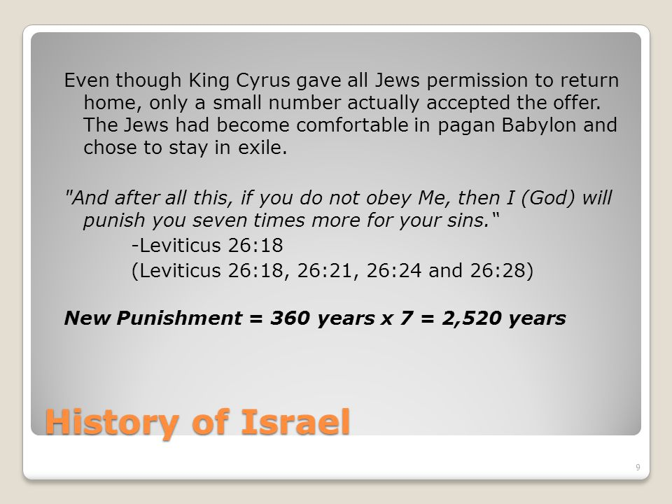 History of Israel Even though King Cyrus gave all Jews permission to return home, only a small number actually accepted the offer.