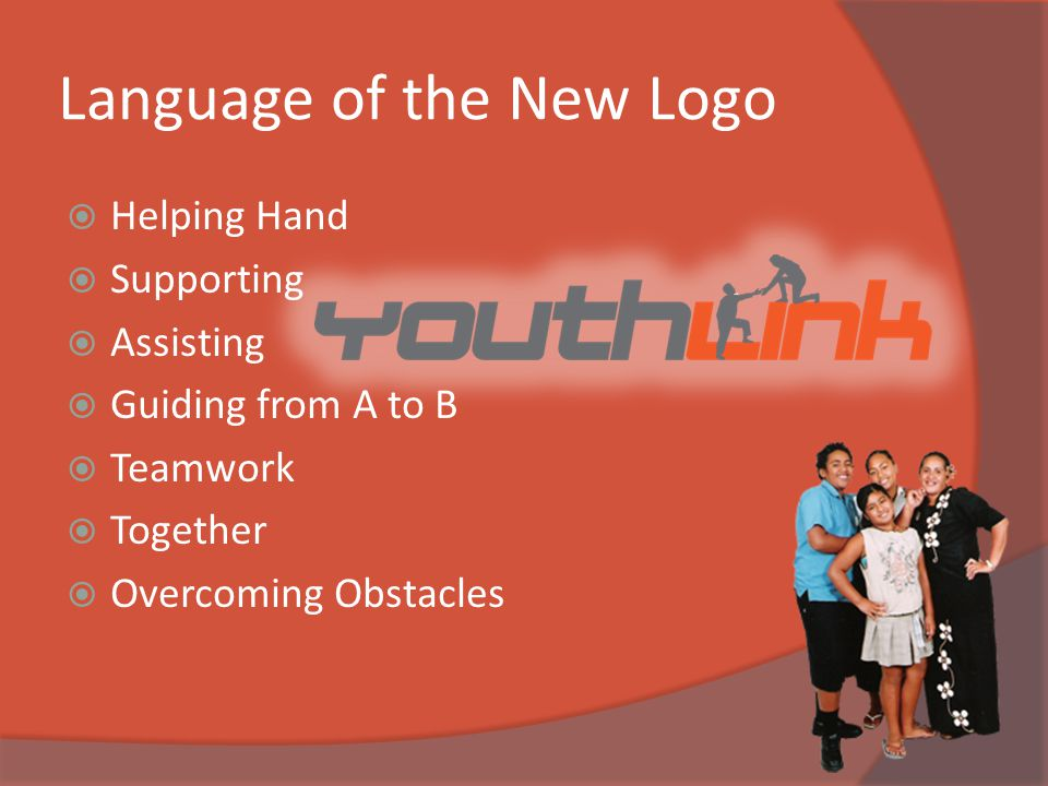 Language of the New Logo  Helping Hand  Supporting  Assisting  Guiding from A to B  Teamwork  Together  Overcoming Obstacles