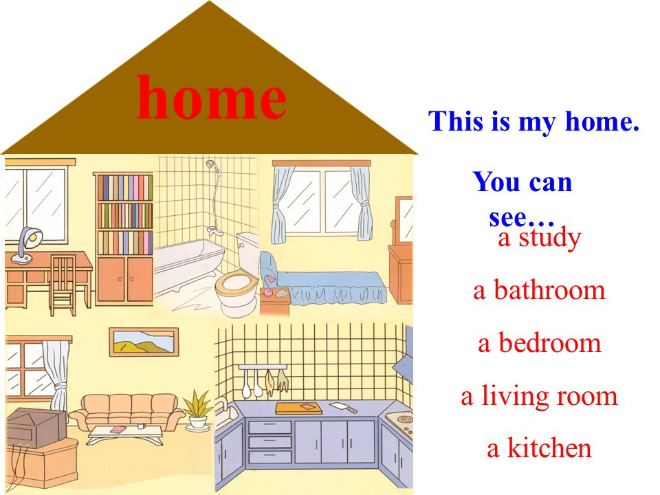 home This is my home. You can see… a study a bathroom a bedroom a living room a kitchen