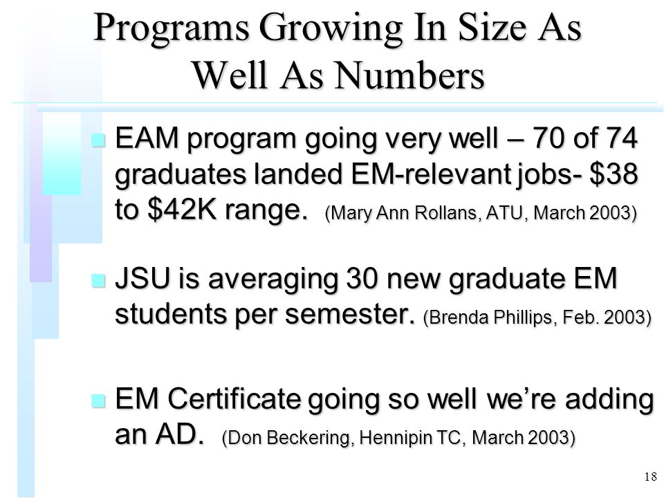 18 Programs Growing In Size As Well As Numbers n EAM program going very well – 70 of 74 graduates landed EM-relevant jobs- $38 to $42K range. (Mary An