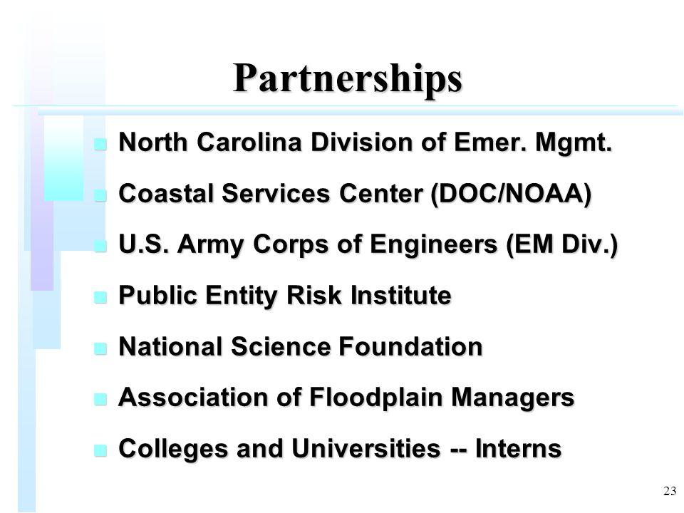 23 Partnerships n North Carolina Division of Emer.