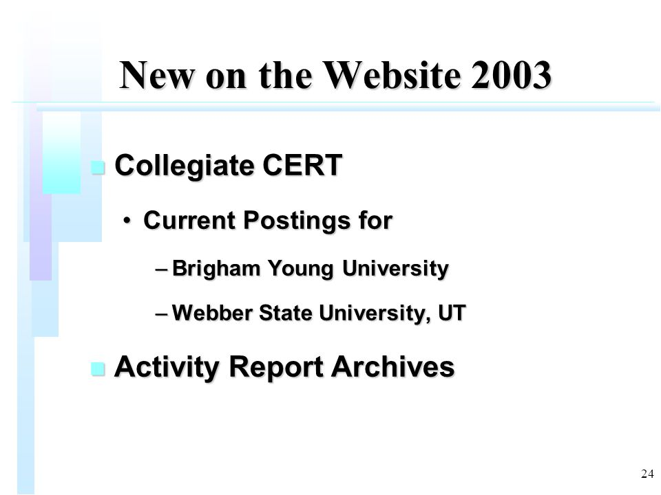 24 New on the Website 2003 n Collegiate CERT Current Postings forCurrent Postings for –Brigham Young University –Webber State University, UT n Activit