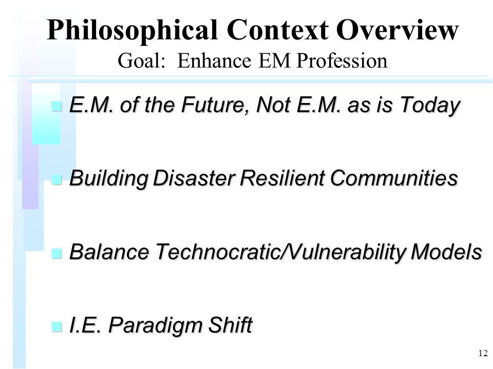 12 Philosophical Context Overview Goal: Enhance EM Profession n E.M.