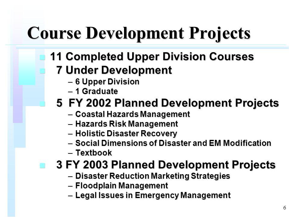 6 Course Development Projects n 11 Completed Upper Division Courses n 7 Under Development –6 Upper Division –1 Graduate n 5 FY 2002 Planned Developmen