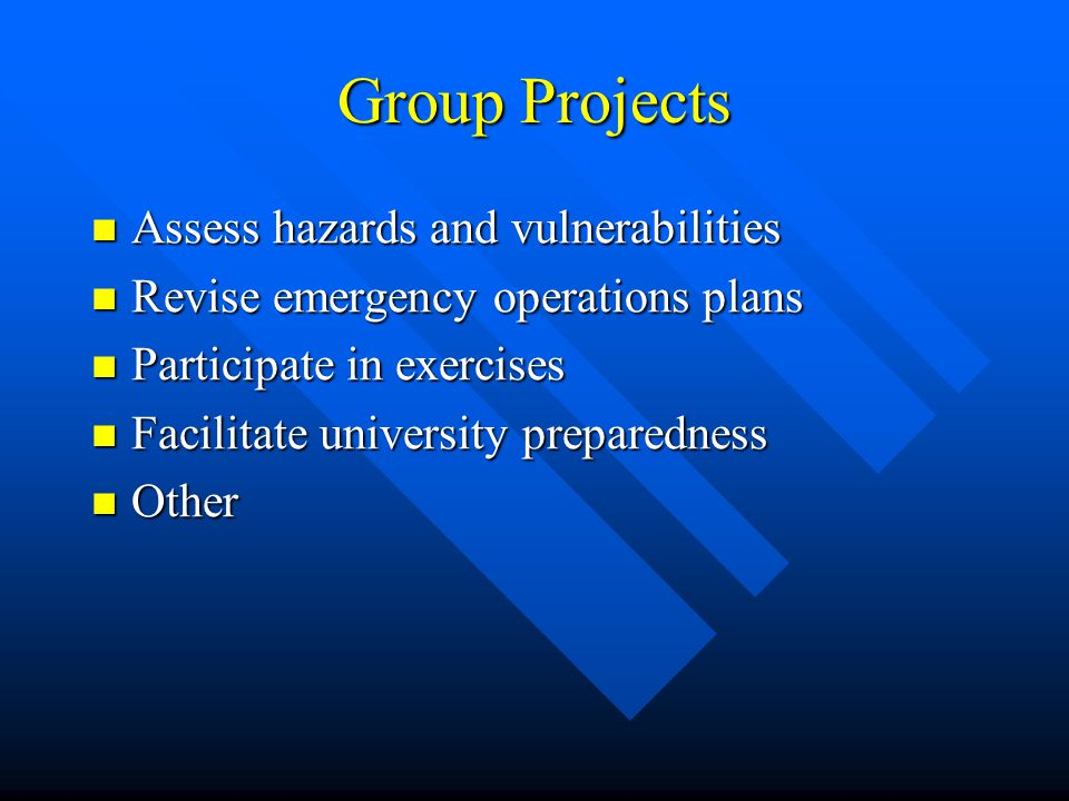Group Projects Assess hazards and vulnerabilities Assess hazards and vulnerabilities Revise emergency operations plans Revise emergency operations plans Participate in exercises Participate in exercises Facilitate university preparedness Facilitate university preparedness Other Other