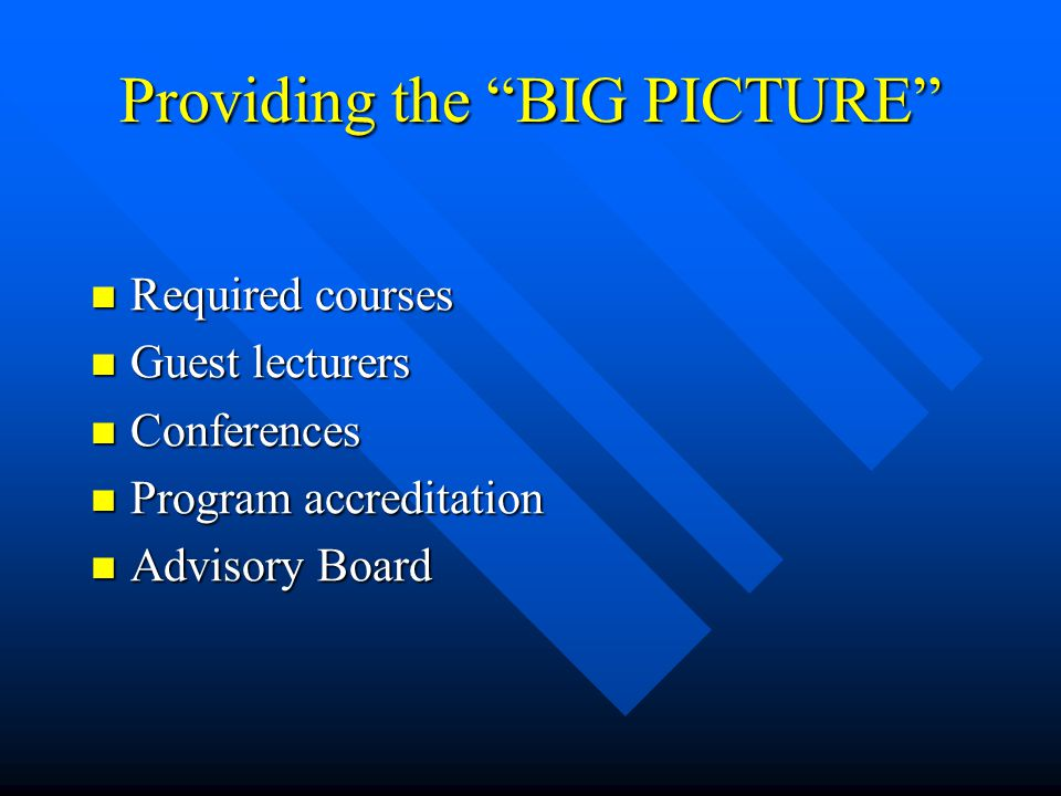 Providing the BIG PICTURE Required courses Required courses Guest lecturers Guest lecturers Conferences Conferences Program accreditation Program accreditation Advisory Board Advisory Board