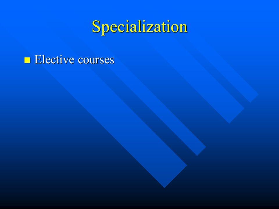 Specialization Elective courses Elective courses